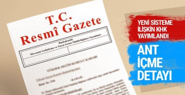 Cumhurbaşkanlığı Hükümet Sistemi'ne ilişkin KHK yayımlandı