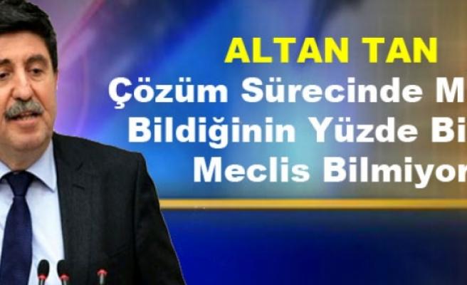 Altan Tan: Çözüm Sürecinde MİT'in Bildiğinin Yüzde Birini Meclis Bilmiyor