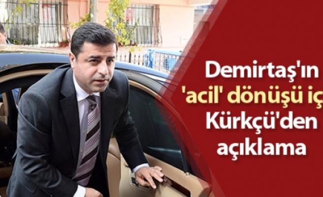 Demirtaş'ın 'acil' dönüşü için Kürkçü'den açıklama