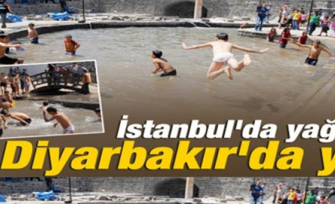 Diyarbakır'da çocuklar süs havuzuna koştu