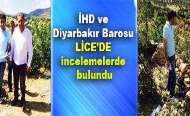 İHD ve Diyarbakır Barosu Lice'de incelemelerde bulundu