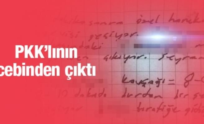 PKK'lının üzerinden öyle notlar çıktı ki