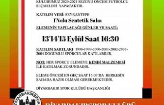 Diyarbakırspor Futbolcu Seçecek
